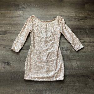 TOBI Matte Gold Sequin 3/4 Sleeve Body Con Dress
